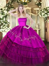 Pretty Fuchsia Organza and Taffeta Zipper Quinceanera Gown Sleeveless Floor Length Embroidery and Ruffled Layers