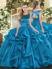 Sweet Teal Sleeveless Floor Length Ruffles Lace Up Sweet 16 Dress