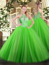 Vintage Lace Up Halter Top Sequins Vestidos de Quinceanera Tulle Sleeveless