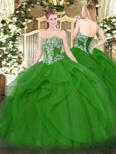 Suitable Tulle Strapless Sleeveless Lace Up Beading and Ruffles Quinceanera Dresses in Green