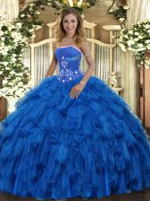 Latest Sleeveless Organza Floor Length Lace Up Quince Ball Gowns in Royal Blue with Beading and Ruffles