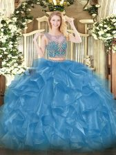 Elegant Baby Blue Sleeveless Beading and Ruffles Floor Length Quinceanera Gown