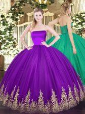 Custom Design Floor Length Purple Quinceanera Dress Strapless Sleeveless Zipper