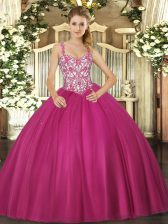 Hot Selling Sleeveless Lace Up Floor Length Beading and Appliques Sweet 16 Quinceanera Dress