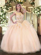 Enchanting Sleeveless Zipper Floor Length Beading Quinceanera Gowns