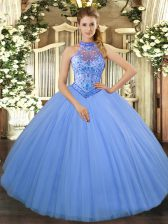 Trendy Ball Gowns Quinceanera Dress Baby Blue Halter Top Tulle Sleeveless Floor Length Lace Up