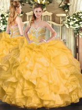 Admirable Sleeveless Beading and Ruffles Lace Up Quinceanera Dresses