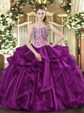 Hot Sale Sleeveless Organza Floor Length Lace Up Quinceanera Dresses in Fuchsia with Beading and Ruffles
