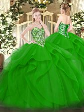 Green Lace Up Sweetheart Beading and Ruffles Vestidos de Quinceanera Tulle Sleeveless