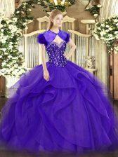 Purple Sweetheart Lace Up Beading and Ruffles Sweet 16 Dress Sleeveless