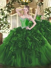 Pretty Floor Length Dark Green Quinceanera Gowns Sweetheart Sleeveless Lace Up
