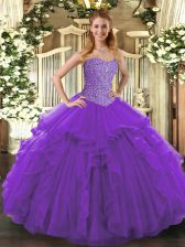 Elegant Purple Lace Up Sweetheart Beading and Ruffles Quinceanera Gowns Tulle Sleeveless