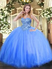 Blue Ball Gowns Sweetheart Sleeveless Tulle Floor Length Lace Up Appliques Quinceanera Gown
