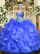 Suitable Sweetheart Sleeveless Ball Gown Prom Dress Floor Length Beading and Ruffles Blue Organza