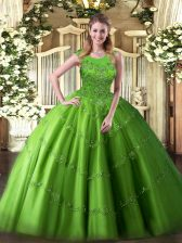 Sweet Tulle Sleeveless Floor Length Quinceanera Gown and Beading and Appliques