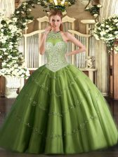 Modest Sleeveless Floor Length Beading and Appliques Lace Up 15 Quinceanera Dress with Olive Green