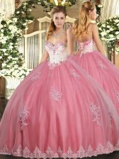 Watermelon Red Sleeveless Floor Length Beading and Appliques Lace Up Ball Gown Prom Dress