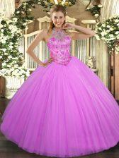 Fashionable Lilac Sleeveless Beading Floor Length Quinceanera Dresses