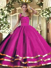 Tulle Sleeveless Floor Length Quinceanera Gown and Ruffled Layers
