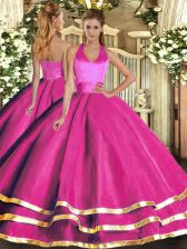 Fuchsia Ball Gowns Tulle Halter Top Sleeveless Ruffled Layers Floor Length Lace Up Sweet 16 Dress