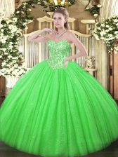 Noble Sweetheart Sleeveless Tulle 15 Quinceanera Dress Appliques Lace Up