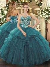 Fancy Turquoise Tulle Lace Up Sweetheart Sleeveless Floor Length Sweet 16 Dress Beading and Ruffles
