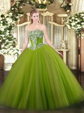 Olive Green Tulle Lace Up Vestidos de Quinceanera Sleeveless Floor Length Beading