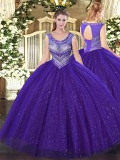 Spectacular Purple Lace Up Quinceanera Dresses Beading Sleeveless Floor Length