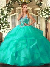 Affordable Turquoise Lace Up 15th Birthday Dress Beading and Ruffles Sleeveless Floor Length