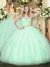 Affordable Apple Green Scoop Zipper Lace and Ruffles Sweet 16 Dresses Sleeveless