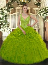 Custom Design Sleeveless Zipper Floor Length Beading and Ruffles 15th Birthday Dress