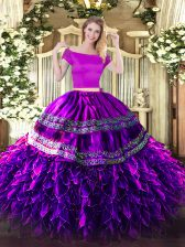 Off The Shoulder Short Sleeves Zipper Quinceanera Dresses Eggplant Purple Organza and Taffeta