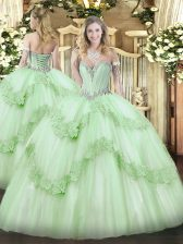 Fantastic Apple Green Sleeveless Floor Length Beading and Appliques Lace Up Quinceanera Gowns