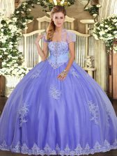 Sophisticated Lavender Lace Up Sweet 16 Dress Appliques Sleeveless Floor Length