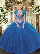 Pretty Tulle Sweetheart Sleeveless Lace Up Beading Ball Gown Prom Dress in Blue