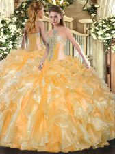 Fabulous Floor Length Gold Quinceanera Dress Organza Sleeveless Beading and Ruffles