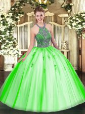 Colorful Lace Up Halter Top Beading Quince Ball Gowns Tulle Sleeveless