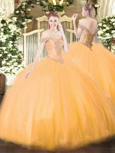 Fancy Sleeveless Tulle Floor Length Lace Up 15 Quinceanera Dress in Orange with Beading