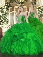Modest Sleeveless Organza Floor Length Lace Up Quinceanera Gowns in Green with Beading and Ruffles