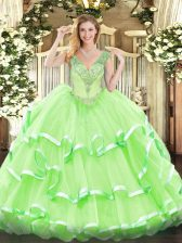 Sleeveless Floor Length Beading and Ruffled Layers Lace Up Quinceanera Dress