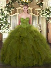 Beautiful Olive Green Sleeveless Beading Floor Length Vestidos de Quinceanera