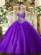 Fitting Floor Length Eggplant Purple 15th Birthday Dress Tulle Sleeveless Beading
