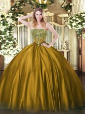 Glamorous Brown Lace Up Strapless Beading 15 Quinceanera Dress Satin Sleeveless