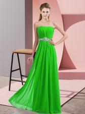 Floor Length Empire Sleeveless Green Homecoming Dress Lace Up