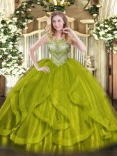 Beautiful Olive Green Ball Gowns Scoop Sleeveless Tulle Floor Length Lace Up Beading Quince Ball Gowns