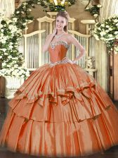New Style Rust Red Ball Gowns Organza Sweetheart Sleeveless Beading and Ruffled Layers Floor Length Lace Up 15 Quinceanera Dress