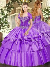 Decent Organza and Taffeta Sweetheart Sleeveless Lace Up Beading and Ruffled Layers Quinceanera Dresses in Lavender