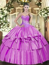 Lilac Ball Gowns Beading and Ruffled Layers Vestidos de Quinceanera Lace Up Organza and Taffeta Sleeveless Floor Length