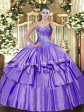 Luxurious Sleeveless Beading and Ruffled Layers Lace Up Vestidos de Quinceanera