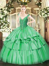 Artistic Green Organza and Taffeta Lace Up 15th Birthday Dress Sleeveless Floor Length Beading and Ruffled Layers